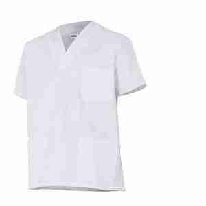 Casaca sanitaria cuello pico blanca