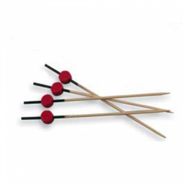Pincho bambú rojo y negro 12cm (set 100 unidades)