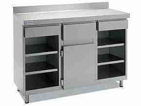 Mueble Cafetero acero Inox 1m 2 estantes