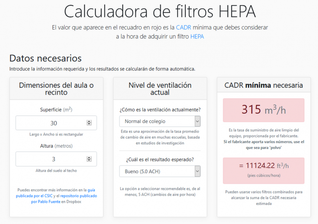 Calculadora de CADR para filtros HEPA